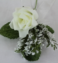 Single Rose 5cm With Gypsophila And Ribbon Bow Corsage Ivory