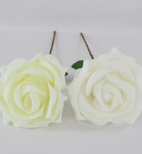 20cm Large Single Foam Rose With Long Stem Ivory
