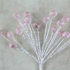 Pink Crystal Facet Beads On Stems