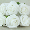 front view of the white foam rose bunch