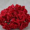 front view of the red foam rose bunch
