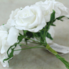 side view of the white foam rose bunch