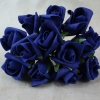 Front View Of The Navy Curled Foam Rose Bunch