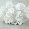 White Curled Foam Rose With No Foliage And White Stems