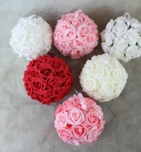 Quality artificial Rose flower Pomander with ribbon loop in 4 vibrant colours.