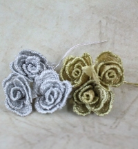 2cm Vintage Mesh Rose Bunch x 3 On Matching Colour Floral Wire
