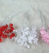 Miniature Acrylic Heart Bunch 12 Stems 7 Hearts 3 Colours