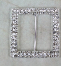 Square chair back buckle 52mm high with diamante acrylic stones.