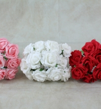 288 Quality foam Roses buds on stems. 4cm wide buds, packed as 24 bunches of 12 with next day delivery.