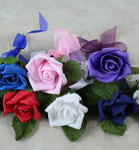 Single Foam Rose 5cm Corsage With Ribbon And Foliage Leaves Ivory