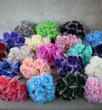 Large 5.5cm Foam Roses With Tulle Wrapping