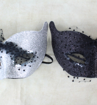 12 x Glitter Cat Masks