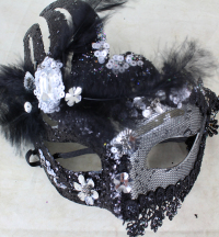 3 x Two Tone Mask With Gems & Marabou