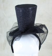 Females black glitter party mini top hat head wear.