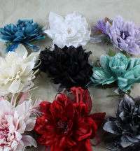 Satin Dahlia Corsage With Tallel And Ribbon Streamers