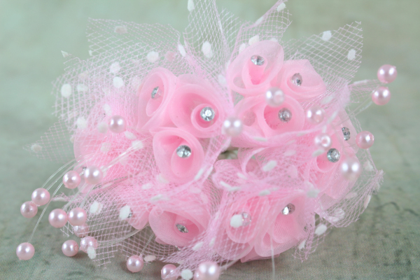 Our Pink Rosette & Diamante Bunches