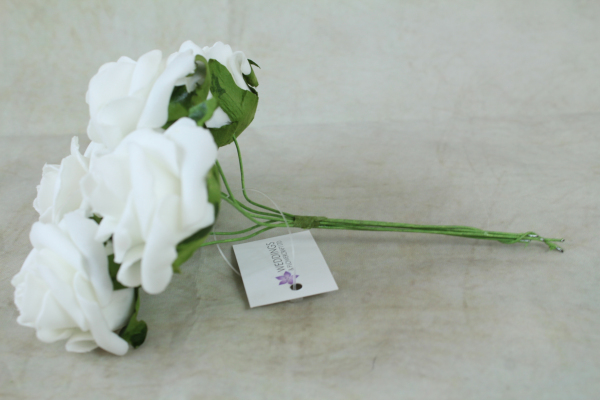 side view of the white foam rose bunh