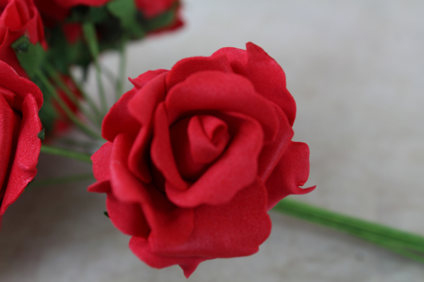 single red foam rose stem from the bunch
