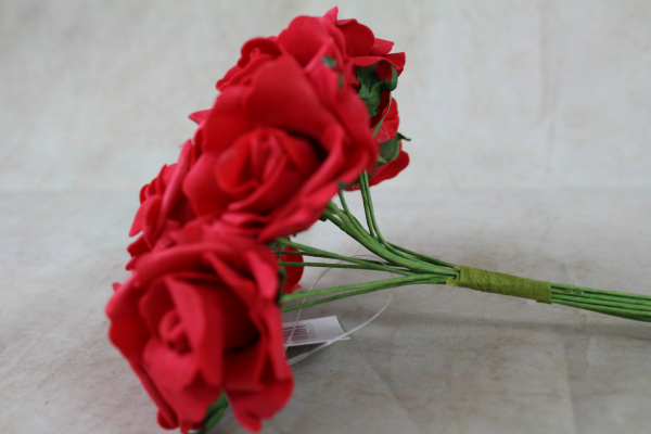 side view of the red foam rose bunch