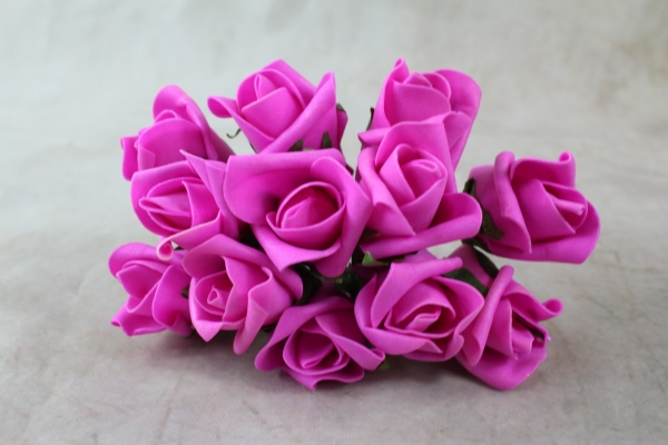 A Front View Of Our Fuchsia Curled Foam Roses