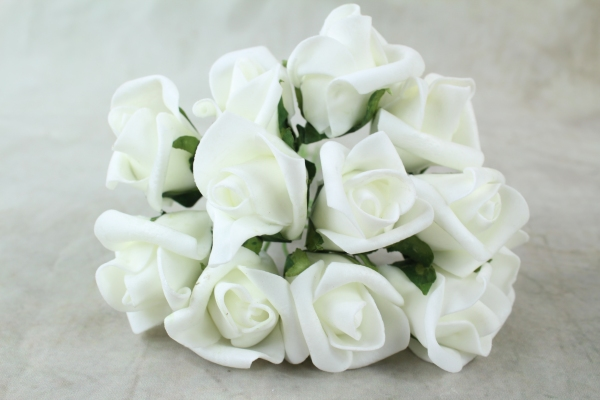 Ivory With Green Foliage Curled Foam Rose Bunch