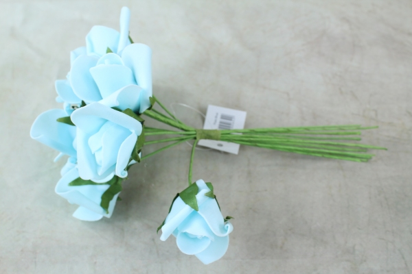light Blue Curled Foam Roses