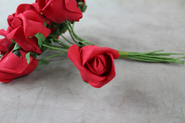 Single Rose Stem From The Red Curled Bunch