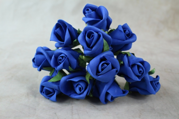 Front View Of The Royal Blue Curled Foam Rose Bunch
