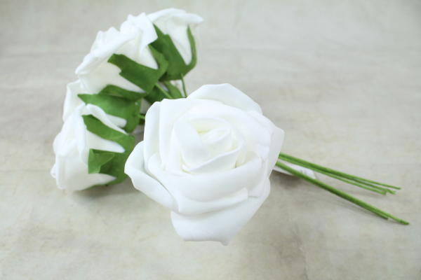 White With green Stem