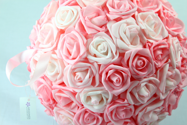 Pink Mix large foam Rose Pomander 32cm.