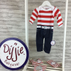 Red & White Striped Baby Romper Suit