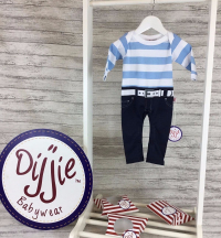 Blue & White Striped Romper Suit