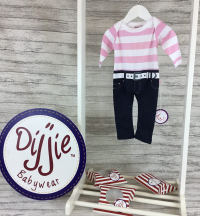 Pink & White Striped Romper Suit