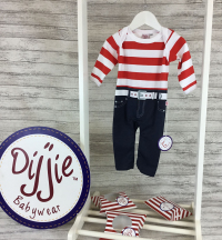 Red & White Striped Romper Suit