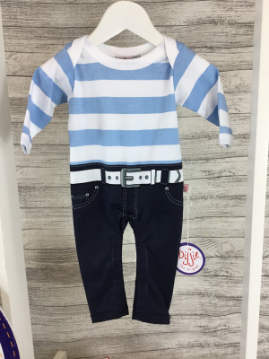 Blue & White Striped Baby Romper Suit