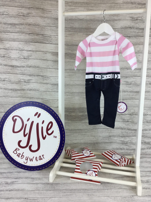 Pink & White Striped Baby Romper Suit