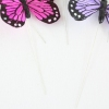 12 Multi Coloured Print Real Feather Butterflies On Wire 9cm
