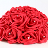 Vibrant Red artificial Red Rose half Pomander with ribbon.