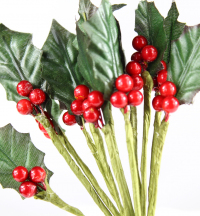 Trade Christmas Decoration Holly Leaves and Red Berries. 1 pack of 6 stems.