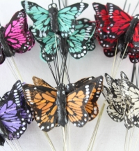 36 Multi Coloured Print Real Feather Butterflies On Wire 4cm