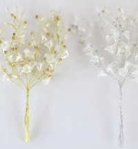 x 12 Diamante With Pearlised Lilys And Mixed Pearls Cake Topper Pick Ivory/Gold