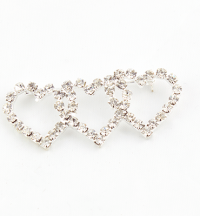 Triple Heart Diamanté Brooch x 12