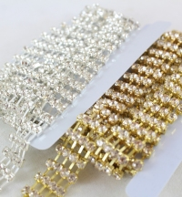 2 Yards, Quadruple line B quality rhinestone chain x6