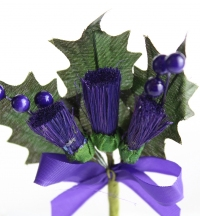 Quality large thistle stems with beads on stems and a ribbon bow. 3 packs of 6.