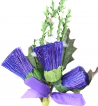 Quality large thistle heads with sprigs of heather and purple ribbon bow. 3 packs of 6.
