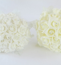 Posey Of 24 Rhinestone Centred Foam Flower Bouquet Ivory