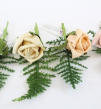 Pearlised Foam Rose Bud With Spray Fern Leaf Corsage 4 Colours
