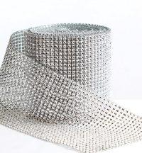 This is our 12cm wide bling roll rhinestone mesh ribbon.