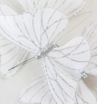 10cm Satin Butterfly With Wire Stems