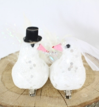 Mr & Mrs Wedding Doves White Decorated Pair of 16.5cm